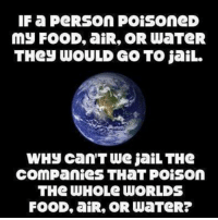 Irs, Jail, and Memes: IF a PeRSON POISOneD  MJ FOOD, an IR, OR WaTeR  THey WOULD GO TO jail.  WHy Can'T We jaiLTHe  COMPanieS THaT Poison  THe WHOLe WORLDS  FOOD, aiR, OR WaTeR?