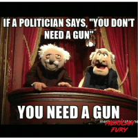 "True mericanfury stupidliberals secondamendment trump donaldtrump conservative hillno feelthebern Bernie killary hillary hillaryclinton murica merica america military guns patriot: IF A POLITICIAN SAYS, ""YOU DON'T  NEED A GUN  YOU NEED A GUN  mem  FURY True mericanfury stupidliberals secondamendment trump donaldtrump conservative hillno feelthebern Bernie killary hillary hillaryclinton murica merica america military guns patriot"