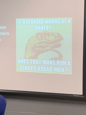 Reddit, Board, and Ginger: IF A REDHEAD WORKS AT A  BAKERY  ase  hairs  DOES THAT MAKE HIM A  GINGER BREAD MAN?  ActivBoard First thing I see on my teachers smart board