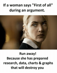 "first: If a woman says ""First of all""  during an argument.  Run away!  Because she has prepared  research, data, charts & graphs  that will destroy you"