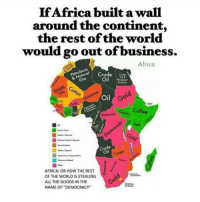 "Memes, Afrikaner, and 🤖: If Africa built a wall  around the continent,  the rest of the world  would go out of business.  Africa  Crude  & Natura  Crude  Oil  Petroleum  Cotton  Uranium  Gold one  Oil  Gold  Diamonds rains  Coffee  Teo  Gold  Crude  Copper  AFRICA: OR HOW THE REST  8  OF THE WORLD IS STEALING  ALL THE GOODS IN THE  NAME OF ""DEMOCRACY"" A wall is necessary to keep Amerikkka, Europe and China from conituing to rape the continent of its natural resources while leaving the Afrikan people destitute. Mediaoutrage africa"