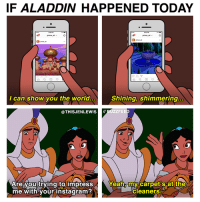 kinda the same? (By Jen Lewis: https://www.facebook.com/thisjenlewis): IF ALADDIN HAPPENED TODAY  Shining, shimmering.  I can show you the world..  ZZFEE  THISJENLEWISS  Are you trying to impress  Yeah, my carpet's at the  cleaners  me with your instagram? kinda the same? (By Jen Lewis: https://www.facebook.com/thisjenlewis)