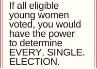 Young Women: If all eligible  young women  voted, you would  have the power  to determine  EVERY. SINGLE  ELECTION