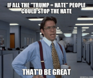 """Trump, Com, and Don: IF ALL THETRUMP HATE"""" PEOPLE  COULD STOP THE HATE  THATD BE GREAT  MEMEFUL COM I don´t like Trump but Hillary won´t be better"""