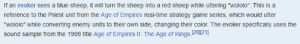 """Blue, Game, and Time: If an evoker sees a blue sheep, it will turn the sheep into a red sheep while uttering """"wololo"""". This is a  reference to the Priest unit from the Age of Empires real-time strategy game series, which would utter  """"wololo"""" while converting enemy units to their own side, changing their color. The evoker specifically uses the  sound sample from the 1999 title Age of Empires lI: The Age of Kings 20)121] This is probably why the the blue council of watersheep member turned red. Like so Pewdiepie sees."""