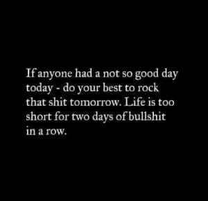 Life, Memes, and Shit: If anyone had a not so good day  today do your best to rock  that shit tomorrow. Life is too  short for two days of bullshit  in a row.
