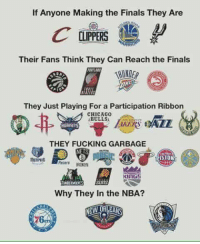 Chicago, Chicago Bulls, and Memes: If Anyone Making the Finals They Are  CLIPPERS  Their Fans Think They Can Reach the Finals  HINDER  They Just Playing For a Participation Ribbon  CHICAGO  BULLS  THEY FUCKING GARBAGE  KINGS  Why They in the NBA?  NEW ORLEANS
