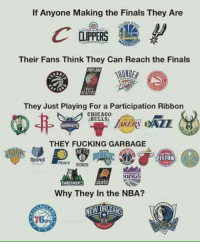 Chicago, Chicago Bulls, and Memes: If Anyone Making the Finals They Are  Their Fans Think They Can Reach the Finals  THUNDER  They Just Playing For a Participation Ribbon  CHICAGO  BULLS  THEY FUCKING GARBAGE  KINGS  Why They in the NBA?  NEW ORLEANS Agree o Disagree? 🔥🏀  Ctto  -Kamandag