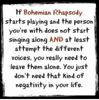 Bohemian Rhapsody: If Bohemian Rhapsody  starts playing and the person  you're with does not start  singing along AND at least  attempt the different  voices, you really need to  leave them alone, you just  don't need that kind of  negativity in your life