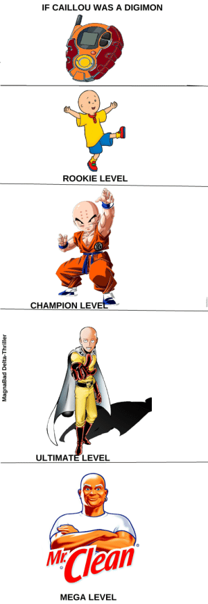 If CAILLOU WAS a DIGIMON ROOKIE LEVEL CHAMPION LEV ULTIMATE