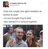 Memes, 🤖, and Sisters: If Celebs Were in HS  @Celebs nHS  -that one couple who gets mistaken as  brother & sister  -no one thought they'd date  -also starred in a musical together. Twitter is great