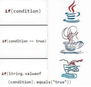 """verbose meme: if (condition)  if (condition =true)  if (String.valueof  (condition). equals (""""true"""")) verbose meme"""