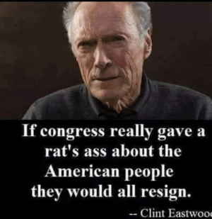 ~LEADER~: If congress really gave a  rat's ass about the  American people  they would all resign.  Clint Eastwoo ~LEADER~