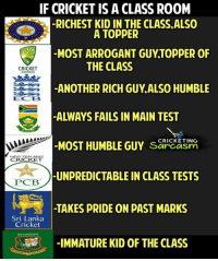 Memes, Arrogant, and Cricket: IF CRICKET IS A CLASS ROOM  -RICHEST KID IN THE CLASS.ALSO  -MOST ARROGANT GUYTOPPER OF  ANOTHER RICH GUY.ALSO HUMBLE  ALWAYS FAILS IN MAIN TEST  -MOST HUMBLE GUY sarcasm  -UNPREDICTABLE IN CLASS TESTS  TAKES PRIDE ON PAST MARKS  A TOPPER  THE CLASS  CRICKET  AUSTRALA  ECB  MOST HUME  CRICKETING  EW ZEAL  CRICKET  PCB  Sri Lanka  Cricket  -IMMATURE KID OF THE CLASS Tag your classmate 😀  By: CS