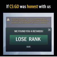 Csgo Ranks: If CS:GO Was  honest  with us  By playing Competitive you are committing to a full  match which could last up to 90 minutes. Abandoning  the match after you ACCEPT will result in a penalty.  WE FOUND YOU 4 RETARDS!  LOSE RANK  0:20