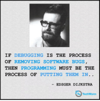Programming, Software, and Legit: IF DEBUGGING IS THE PROCESS  OF REMOVING SOFTWARE BUGS  THEN PROGRAMMING MUST BE THE  PROCESS OF PUTTING THEM IN.  -EDSGER DIJKSTRA Programming vs Debugging. Seems legit.