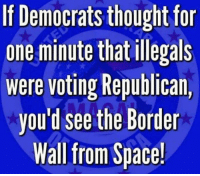 Illegals: If Democrats thought for  one minute that illegals  were voting Republican,  you'd see the Border  Wall from Space!