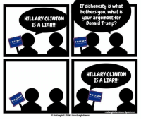 Pretty much every conversation I've had with a Donald Trump supporter.: If dishonesty is what  bothers you, what is  your argument for  HILLARY CLINTON  Donald Trump?  IS A LIAR!!!  TRUMP  TRUMP  HILLARY CLINTON  IS A LIAR!!!  TRUMP  rectangledcomic.wordpress.com  Rectangled 2016 IGrectangledcomic Pretty much every conversation I've had with a Donald Trump supporter.