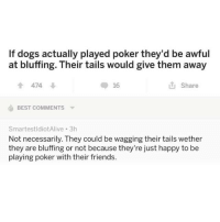 Dogs, Friends, and Best: If dogs actually played poker they'd be awful  at bluffing. Their tails would give them away  會474  16  Share  BEST COMMENTS ▼  SmartestldiotAlive 3h  Not necessarily. They could be wagging their tails wether  they are bluffing or not because they're just happy to be  playing poker with their friends.