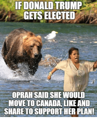IF DONALD TRUMP  GETS ELECTED  OPRAH SAIDSHEMIOULD  MOVE TO CANADA, LIKE AND  SHARE TO SUPPORT HER PLAN!