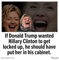 My libertarian friend who also hates Hillary sent me this lol.: If Donald Trump wanted  Hillary Clinton to get  locked up, he should have  put her in his cabinet.  AnthonyKapfer.com  ther98 My libertarian friend who also hates Hillary sent me this lol.