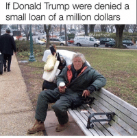 Donald Trump, Trump, and Dank Memes: If Donald Trump were denied a  small loan of a million dollars  @MasiPopal Bro