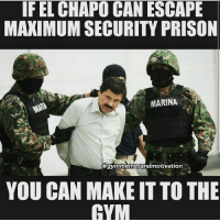 El Chapo, Friday, and Gym: IF EL CHAPO CAN ESCAPE  MAXIMUM SECURITY PRISON  MARINA  @gymmemesandmotivation  YOU CAN MAKE IT TO THE  GYM Friday motivation 💪😊 👉👉@GYMMEMESANDMOTIVATION👈👈 gym gymtime gymmotivation gymmemes gymtips gymtherapy swole swolemate knowledge gymquotes gymrat gymlife gymaddict gymhumor gymbunny fitness fit fitfam fitchick fitchicks fitnessaddicts