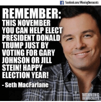 Donald Trump, Facebook, and Memes: If facebook.com/WinningDemocrats  REMEMBER  THIS NOVEMBER  YOU CAN HELP ELECT  PRESIDENT DONALD  TRUMP JUST BY  VOTING FOR GARY  JOHNSON OR JILL  STEIN! HAPPY  ELECTION YEAR!  Seth MacFarlane  VWINNING  DEMOCRATS From Winning Democrats.
