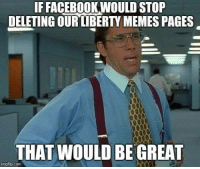 Facebook, Memes, and Fight: IF FACEBOOK,WOULD STOP  DELETING QURIBERTY MEMES PAGES  THAT WOULD BE GREAT  imgilip.com Fight Zuck: patreon.com/libertymemes