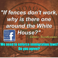 "Memes, Immigration, and 🤖: ""If fences don't work  why is there one  around the White  Surrender.  House 2""  MONSON  I Never  AABE  like us on  Charles Jeauthammer  facebook  We need to enforce immigration laws!  Do you agree? AGREED!"