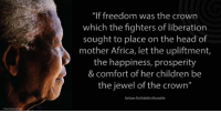 "Africa, Comfortable, and Memes: ""If freedom was the crown  which the fighters of liberation  sought to place on the head of  mother Africa, let the upliftment,  the happiness, prosperity  & comfort of her children be  the jewel of the crown""  Nelson Rolihlahla Mandela ""If freedom was the crown which the fighters of liberation sought to place on the head of mother Africa, let the upliftment, the happiness, prosperity and comfort of her children be the jewel of the crown."" ~ Nelson Mandela speaking at the OAU (Organisation of African Unity) Summit, Tunis, Tunisia, 13 June 1994 #LivingTheLegacy #MadibaRemembered   www.nelsonmandela.org www.mandeladay.com archive.nelsonmandela.org"