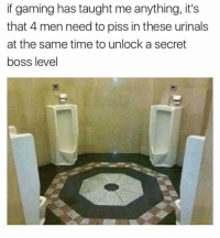 """<p>Secret boss via /r/memes <a href=""""http://ift.tt/2yRBBSE"""">http://ift.tt/2yRBBSE</a></p>: if gaming has taught me anything, it's  that 4 men need to piss in these urinals  at the same time to unlock a secret  boss level <p>Secret boss via /r/memes <a href=""""http://ift.tt/2yRBBSE"""">http://ift.tt/2yRBBSE</a></p>"""