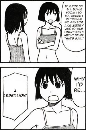 """Anime, Stuff, and Irl: IF GAYNESS  IS A SCALE  FROM 1 TO  1O, WHERE 1  A CELEBRITY  AND 10 WAS  ONLY THINKS  ABOUT STUFF  THAT'S GAY...""""  WHY  I'D  BE.  2  LESBILLION! Anime_irl"""