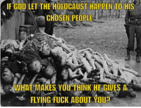 Memes, Holocaust, and 🤖: IF GOD LET THE HOLOCAUST HAPPEN TO HIS  CHOSEN PEOPLE  WHAT MAKES YOU THINK HE GIVES A  FLYING FUCK ABOUT YOUD