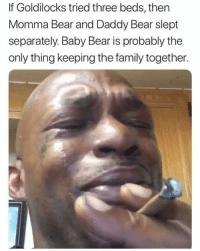 30-minute-memes:  Oh shit why they had ruin it for me: If Goldilocks tried three beds, then  Momma Bear and Daddy Bear slept  separately. Baby Bear is probably the  only thing keeping the family together. 30-minute-memes:  Oh shit why they had ruin it for me