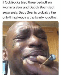 Oh shit why they had ruin it for me: If Goldilocks tried three beds, then  Momma Bear and Daddy Bear slept  separately. Baby Bear is probably the  only thing keeping the family together. Oh shit why they had ruin it for me