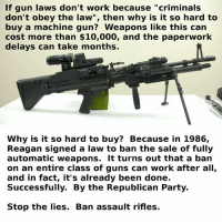 "#NeverAgain. #ItsTime: If gun laws don't work because ""criminals  don't obey the law"", then why is it so hard to  buy a machine gun? Weapons like this can  cost more than $10,000, and the paperwork  delays can take months.  Why is it so hard to buy? Because in 1986,  Reagan signed a law to ban the sale of fully  automatic weapons. It turns out that a ban  on an entire class of guns can work after all,  and in fact, it's already been done.  Successfully. By the Republican Party.  Stop the lies. Ban assault rifles. #NeverAgain. #ItsTime"
