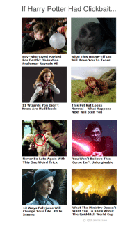 "Elf, Harry Potter, and Life: If Harry Potter Had Clickbait...  Boy-Who-Lived Marked  For Death? Divination  Professor Reveals AIl  What This House-Elf Did  Will Move You To Tears.  11 Wizards You Didn't  Know Are Mudbloods  This Pet Rat Looks  Normal -What Happens  Next Will Stun You   Never Be Late Again With  This One Weird Trick  You Won't Believe This  Curse Isn't Unforgivable  13 Ways Polyjuice Will  Change Your Life. #8 Is  Insane  What The Ministry Doesn't  Want You To Know About  The Quidditch World Cup  © @Kawnliee <p><a href=""http://tumblr.tastefullyoffensive.com/post/152674205038/via-kawnliee"" class=""tumblr_blog"">tastefullyoffensive</a>:</p>  <blockquote><p>(via <a href=""https://twitter.com/kawnliee"">kawnliee</a>)</p></blockquote>"