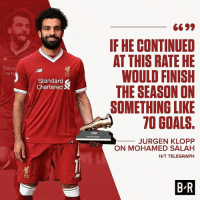 Salah on FIRE... • [📸: twitter.com-brfootball]: IF HE CONTINUED  AT THIS RATE HE  WOULD FINISH  THE SEASON ON  SOMETHING LIKE  70 GOALS.  Stand  Charte  LFC  Standard  Chartered S  JURGEN KLOPP  ON MOHAMED SALAH  H/T TELEGRAPH  B-R Salah on FIRE... • [📸: twitter.com-brfootball]