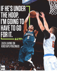 Zach LaVine wants Porzingis to meet him at the rim 😮: IF HE'S UNDER  THE HOOP  I'M GOING TO  HAVE TO GO  FORIT  MESOTA  ZACH LAVINE ON  KRISTAPSPORZINGIS  br  ANNA Zach LaVine wants Porzingis to meet him at the rim 😮