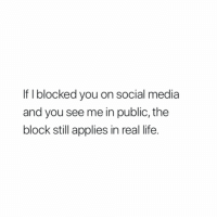 If I Blocked You: If I blocked you on social media  and you see me in public, the  block still applies in real life.