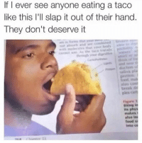 Food, Funny, and Work: If I ever see anyone eating a taco  like this I'll slap it out of their hand.  They don't deserve it  not absort and ae  amt e A the tao avels  thtryk 이  saliva  eEstion  food  treak  ples cart  alse  alse conl  Figure 1  Biting in  its phys  makes i  atso in  food s  into co Like how the fuck would this even work? (@some_bull_ish)