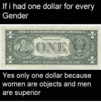 Edgy: If i had one dollar for every  Gender  TIETNITED STATESDFAMERIKA  Yes only one dollar because  women are objects and men  are superior Edgy