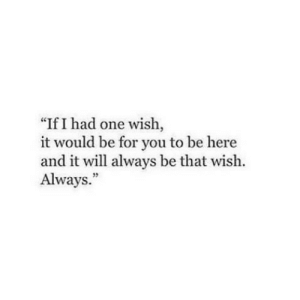 """One, Will, and You: """"If I had one wish,  it would be for you to be here  and it will always be that wish.  Always."""""""