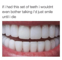 Memes, Smile, and 🤖: if i had this set of teeth i wouldnt  even bother talking i'd just smile  until i die