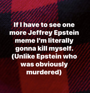 Literally: If I have to see one  more Jeffrey Epstein  meme I'm literally  gonna kill myself.  (Unlike Epstein who  was obviously  murdered) Literally