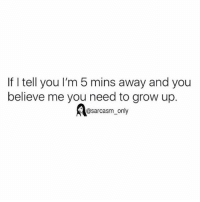Funny, Memes, and Sarcasm: If I tell you I'm 5 mins away and you  believe me you need to grow up.  @sarcasm only ⠀