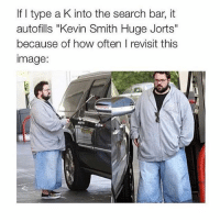 """Image, Kevin Smith, and Search: If I type a K into the search bar, it  autofills """"Kevin Smith Huge Jorts""""  because of how often I revisit this  image: 🤔"""