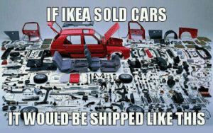 lolzandtrollz:Ikea Cars: IF IKEA SOLD CARS  TWOUED-BE SHIPPED LIKE THIS lolzandtrollz:Ikea Cars