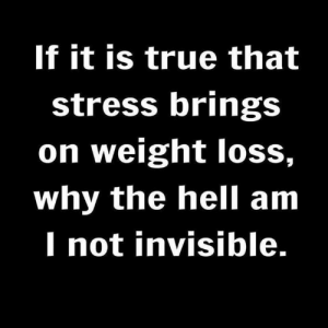 Seriously.: If it is true that  stress brings  on weight loss,  why the hell am  I not invisible. Seriously.